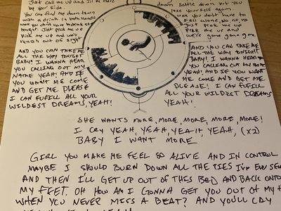 Handwritten Lyrics for Pick Me Up main photo