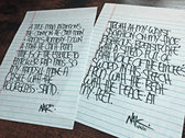 handwritten lyrics to one of my songs (4 lines or less). (help me pay for seminary) photo