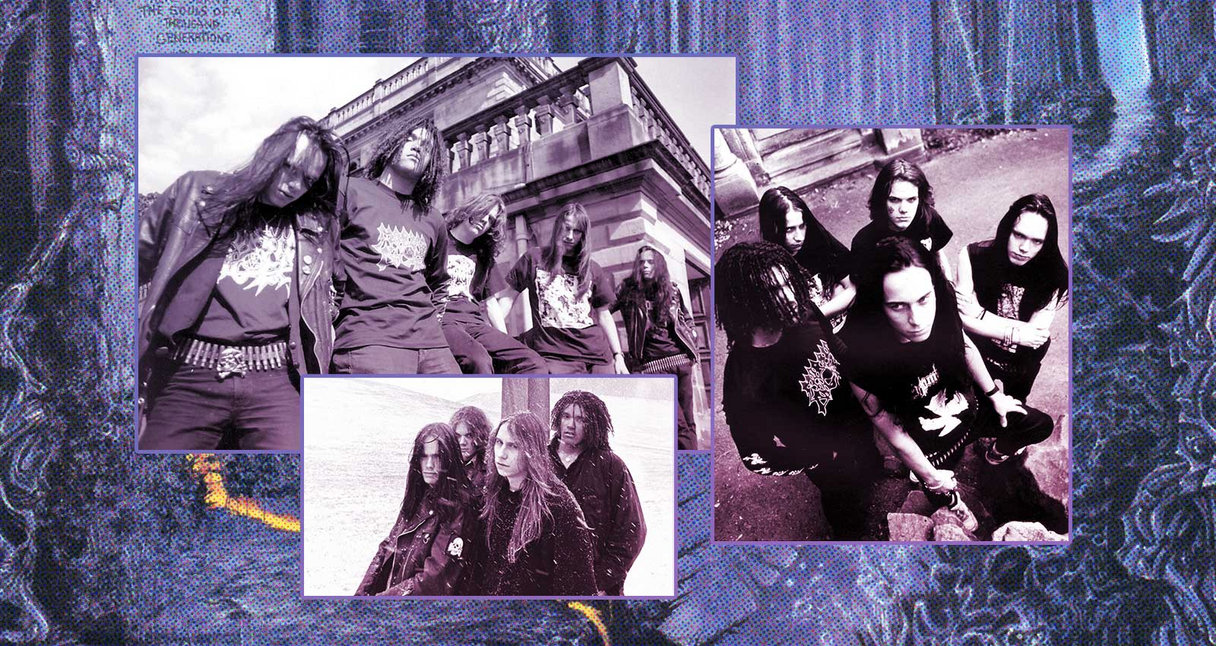 Collage of early band photos of Entombed overlaid artwork from their Left Hand Path album.