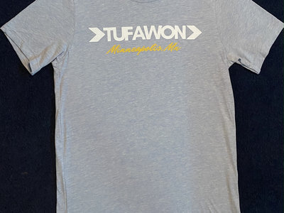 Tufawon T-shirt - Heather Prism Blue / White logo / Yellow Mpls main photo