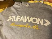 Tufawon T-shirt - Heather Prism Blue / White logo / Yellow Mpls photo