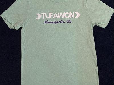 Tufawon T-shirt - Heather Prism Mint / white logo + purple Mpls. main photo