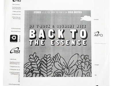 DJ T-Rock & Squashy Nice - Back To The Essence (Test Pressing) main photo