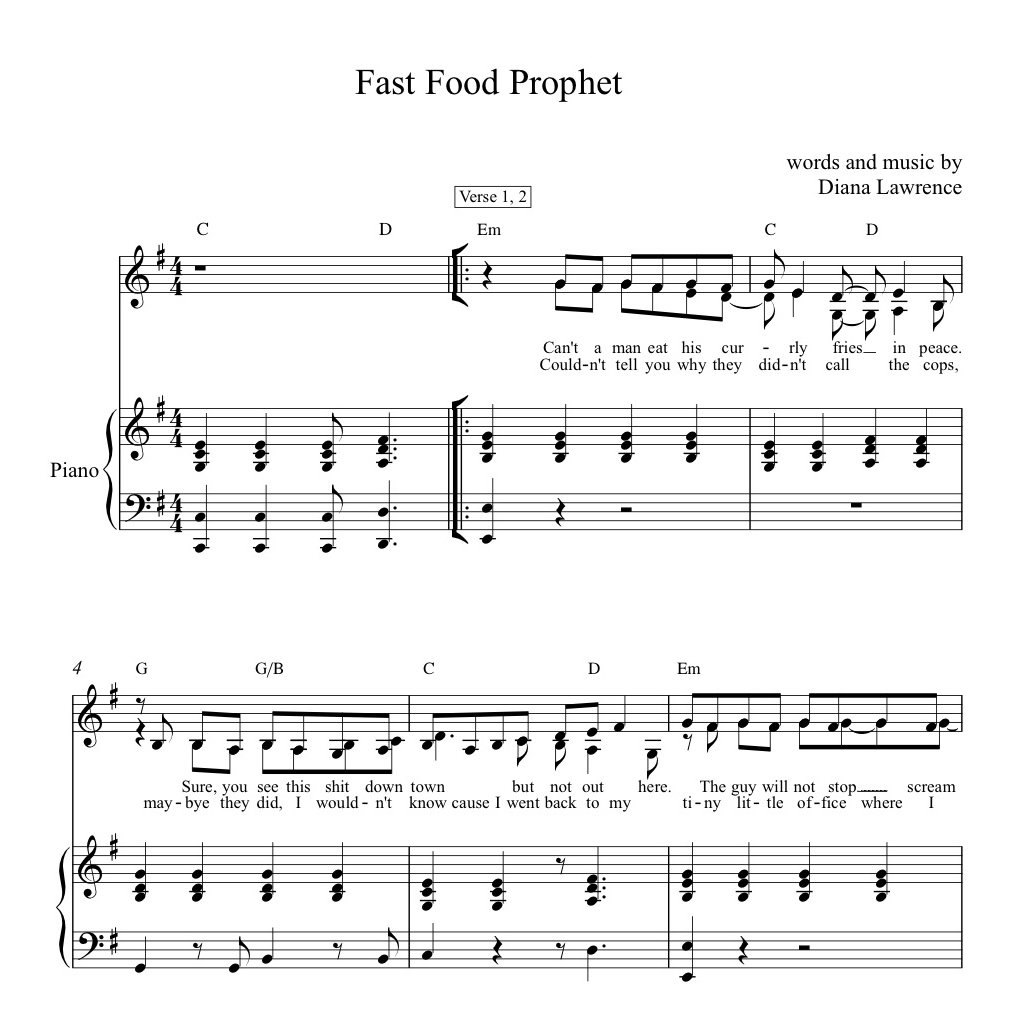 Fast Food Prophet SHEET MUSIC | Diana & the Dishes
