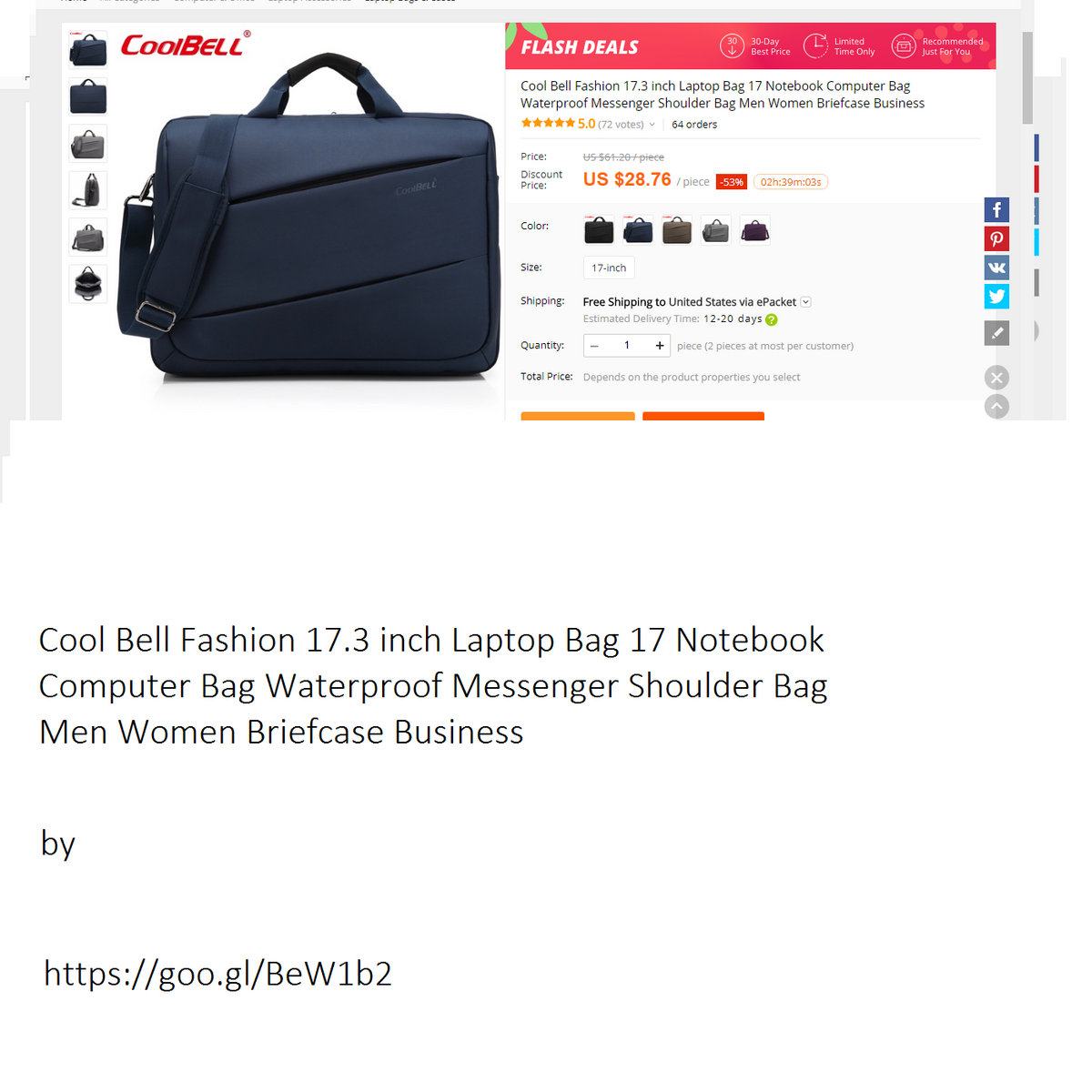 Cool Bell Fashion 17 3 Inch Laptop Bag Notebook Computer Waterproof Messenger Shoulder Men Women Briefcase Business