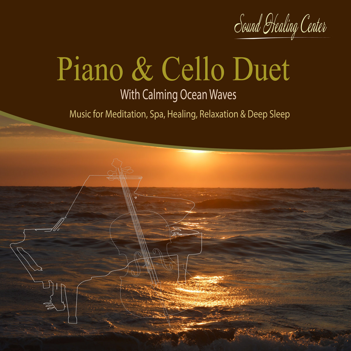 Piano & Cello Duet with Calming Ocean Waves   Relaxation
