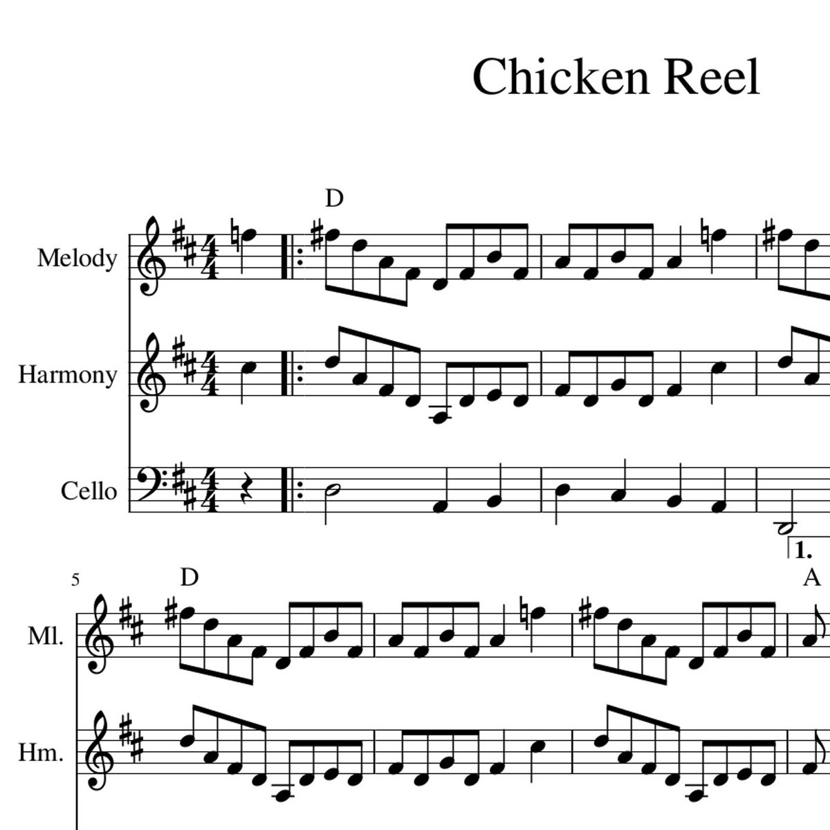 Chicken Reel - Old Time / Bluegrass Sheet Music arrangement for two