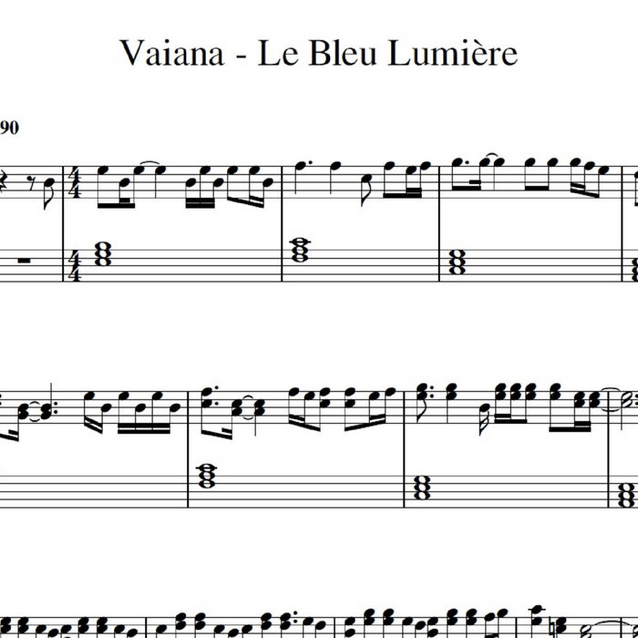 partition guitare vaiana le bleu lumiere