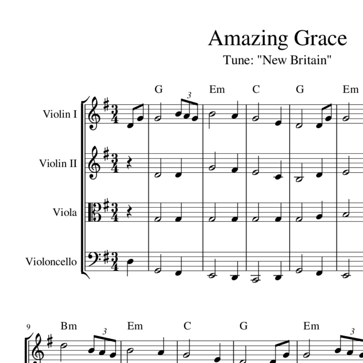 Amazing Grace: Sheet Music For String Quartet, Trio Or