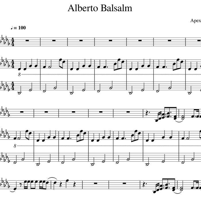 Piano Sheet Music Midi: Alberto Balsalm Piano Cover Sheet Midi Tabs