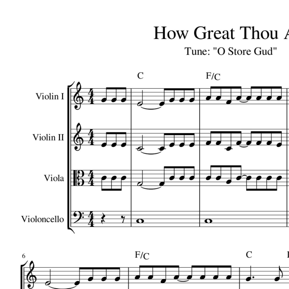 How Great Thou Art Celtic Harmony Arrangement Sheet Music With