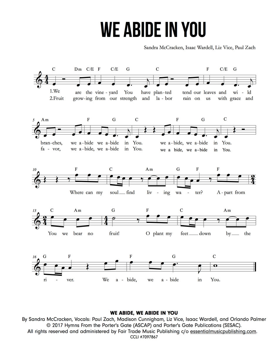 We Abide We Abide In You Feat Paul Zach The Porters Gate