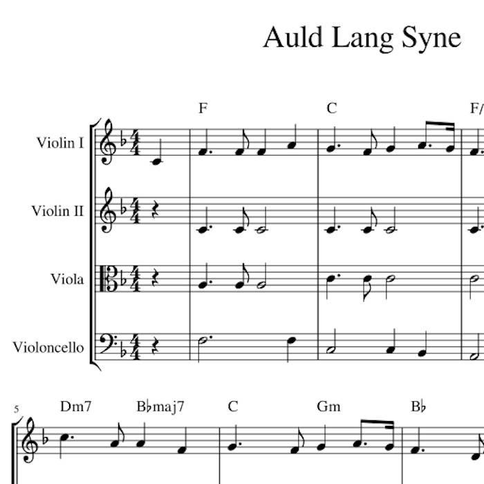 Auld Lang Syne Harmony Sheet Music for String Quartet, Trio or Duet