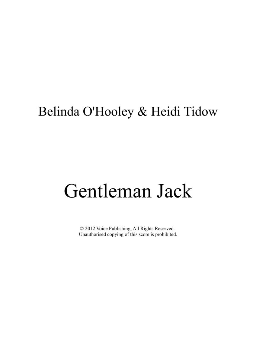 Gentleman Jack Sheet Music | O'Hooley & Tidow