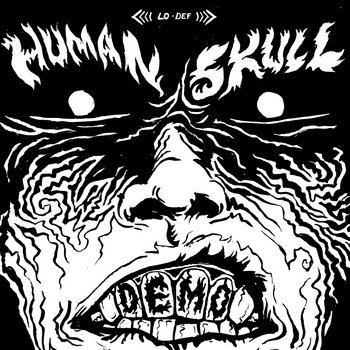 Demo cover art is pen drawing of a super evil face making billy idol's sneer with DEMO spelled on the teeth.