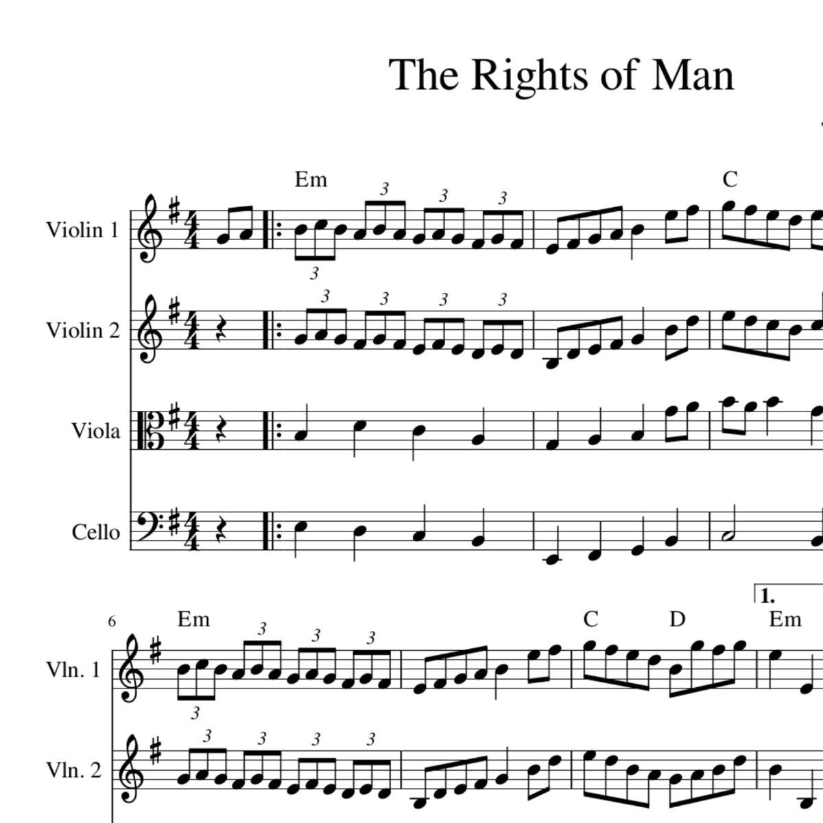 Rights Of Man Harmony Sheet Music For String Quartet Trio