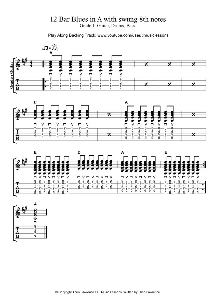 12 Bar Blues Play Along Backing Tracks - Grade 1 - In A, C