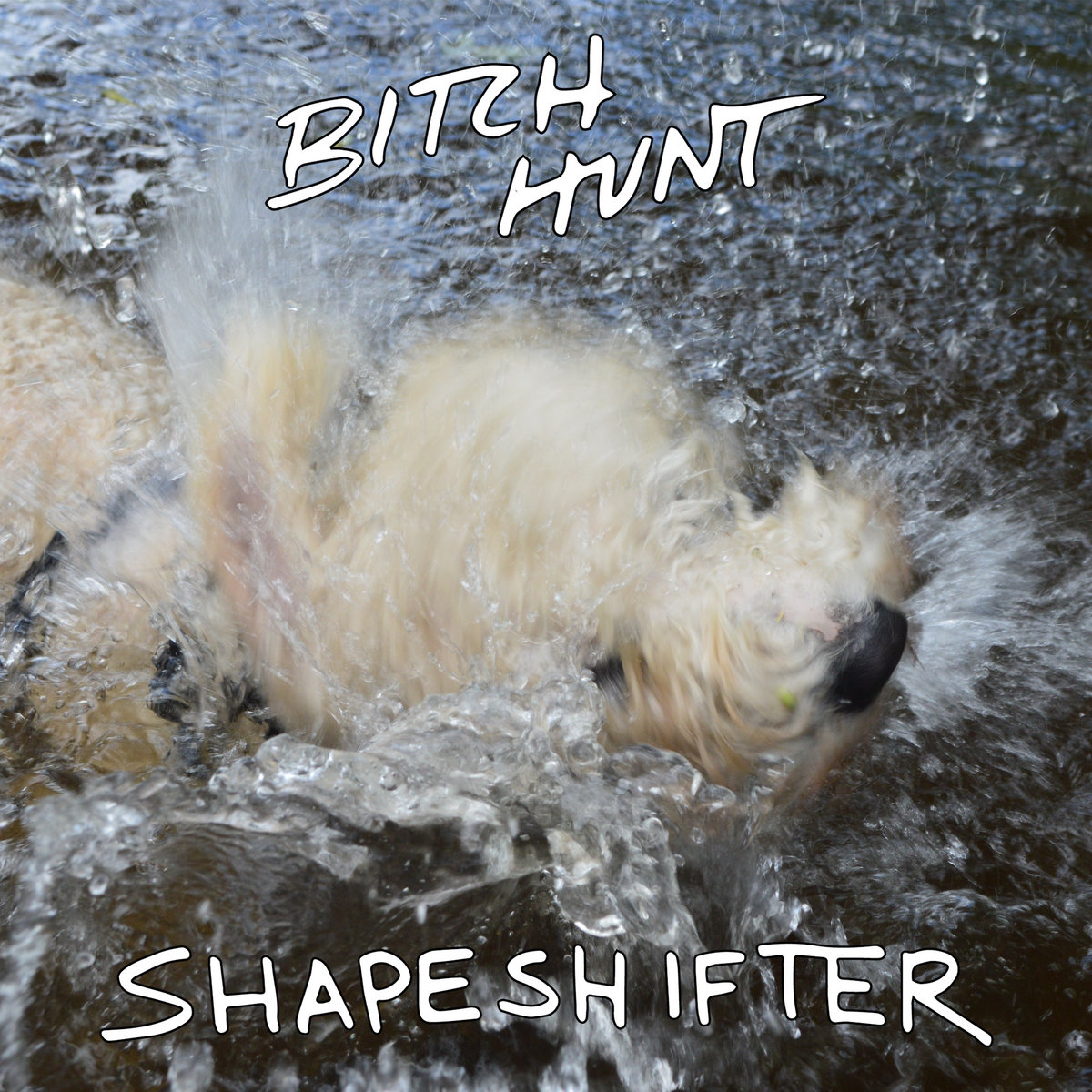 Album art for Bitch Hunt's EP Shapeshifter. A photograph of a cream coloured dog shaking off whilst stood in a shallow river. The dog is so blurred due to movement that it is barely recognisable as such.