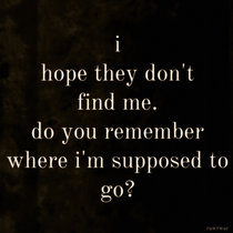 i hope they don't find me. do you remember where im supposed to go? cover art