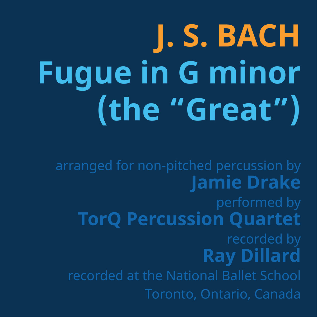 Bach, arr. J. Drake - Fugue in G minor (the Great) for non-pitched percussion by TorQ Percussion Quartet
