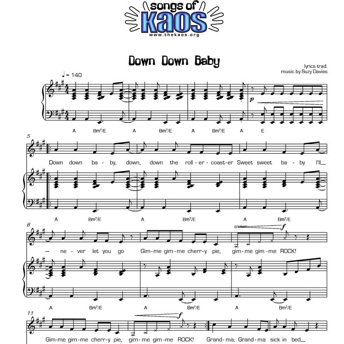 All Music Chords fall for you sheet music : Down Down Baby - Digital Sheet Music | The Kaos Signing Choir