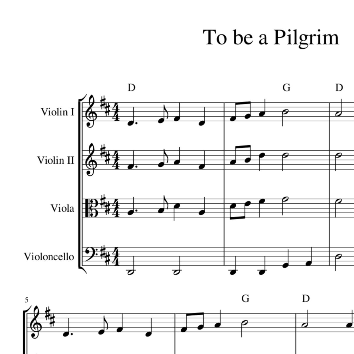 To Be a Pilgrim - celtic harmony arrangement sheet music for