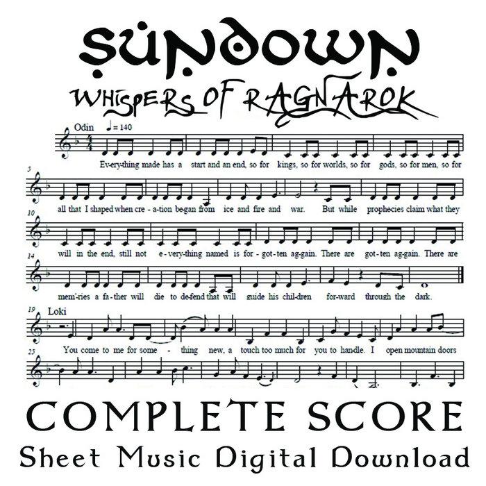 Sundown Complete Score Digital Sheet Music Sassafrass