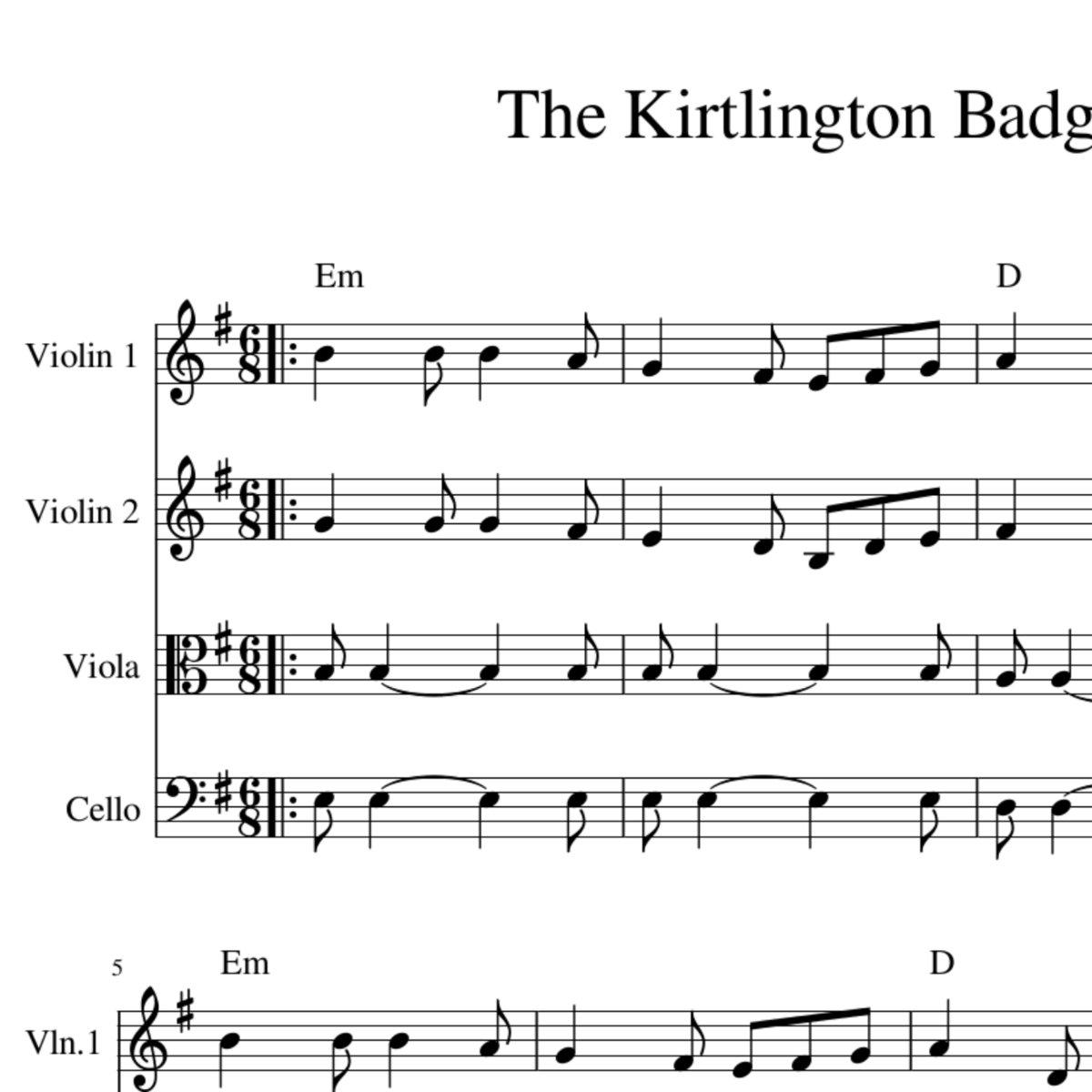 The Kirtlington Badger - New English Folk Tune for String Quartet