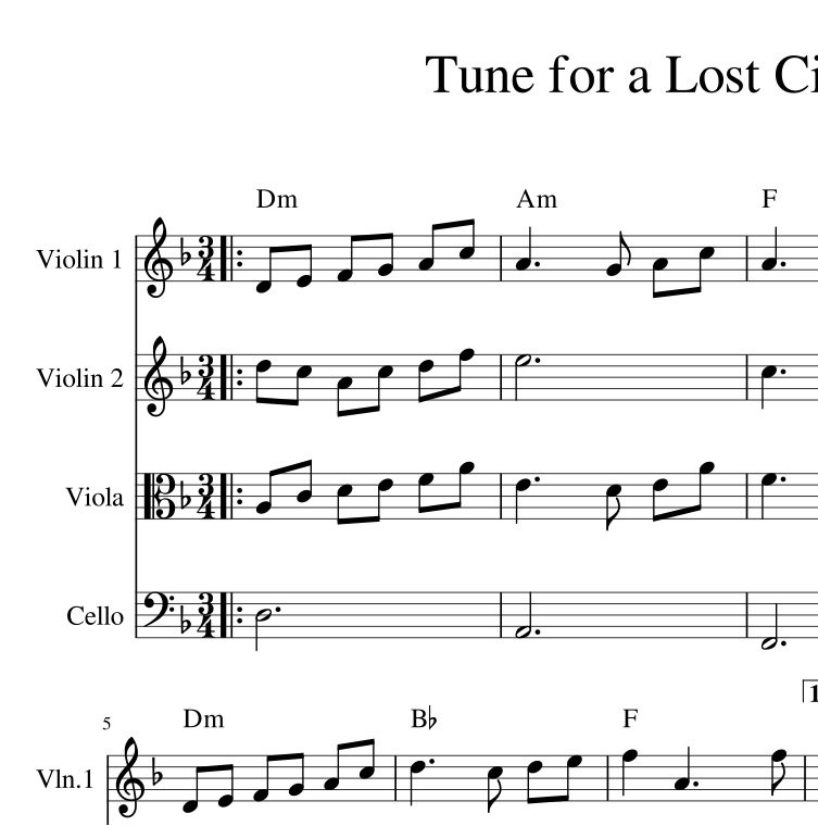 sad violin music sheet