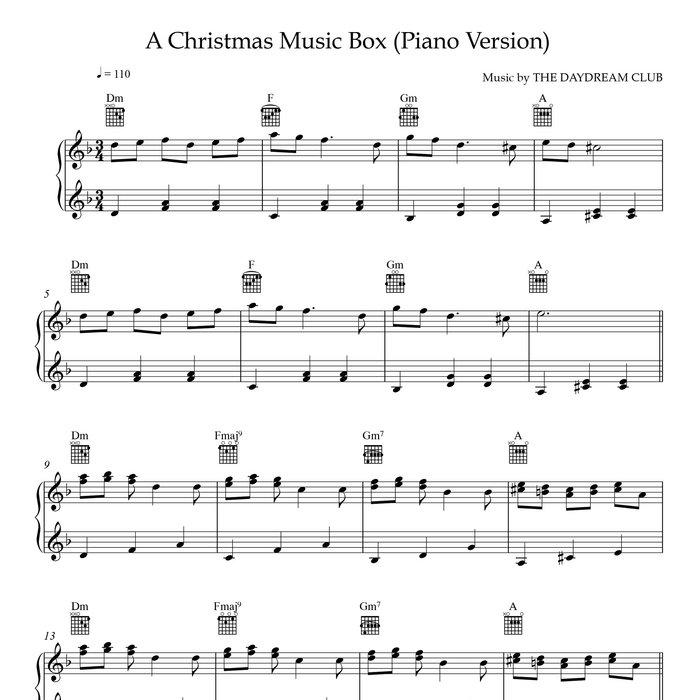 Piano Christmas Music.A Christmas Music Box Piano Version Sheet Music Track