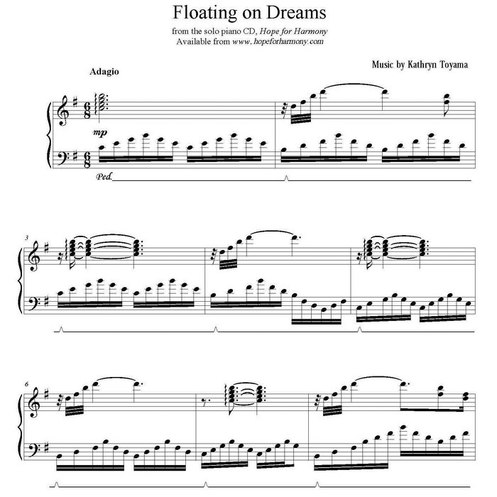 "Free Piano Sheet Music New Age: ""Floating On Dreams"" Sheet Music + MP3"