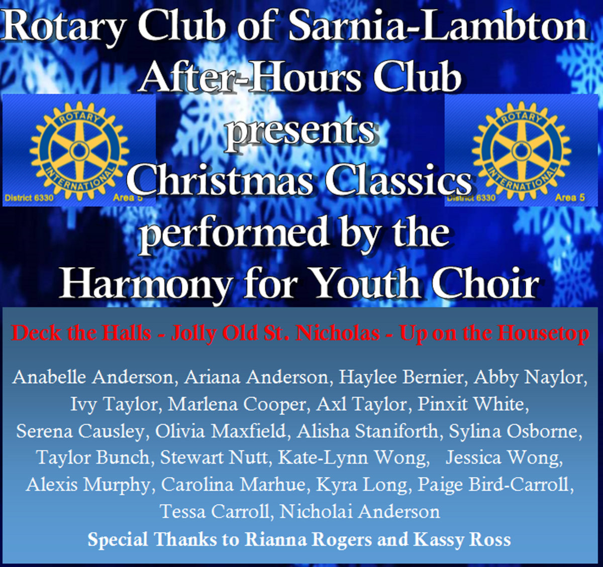 from christmas classics 2016 by harmony for youth choir - Ross Christmas Hours