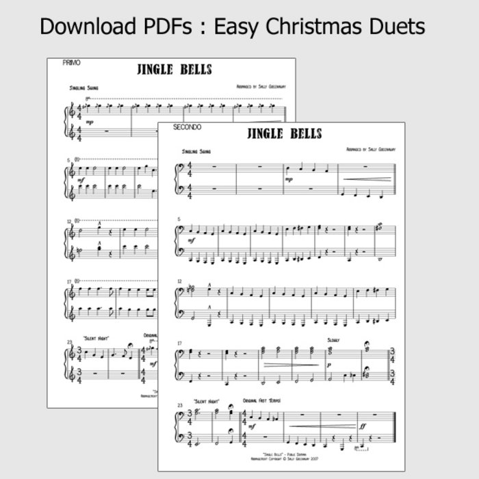 Piano jazz piano sheet music for beginners : PDF Chart: Easy Christmas Duets [piano: 4 hands] | Sally Greenaway