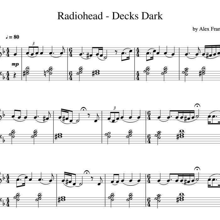 Piano Sheet Music Midi: Decks Dark Piano Cover Sheet Midi Tabs Chords