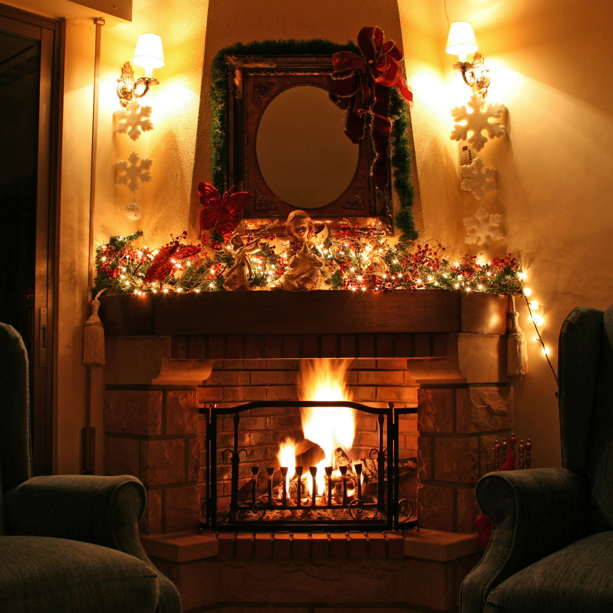 Relaxing Fire Sound 1 hour - Christmas Fireplace with