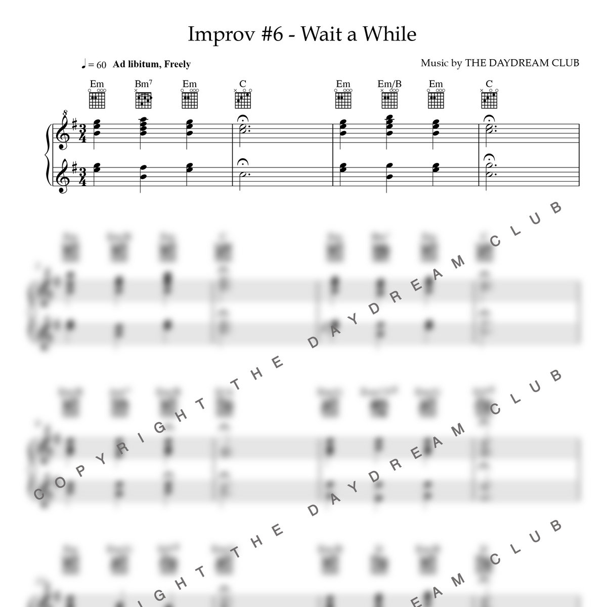 Improv #6 - Wait A While (Sheet Music + Track Download