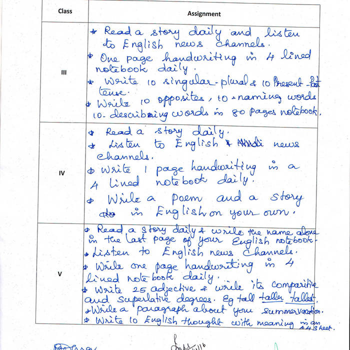 dav kapildev holiday homework