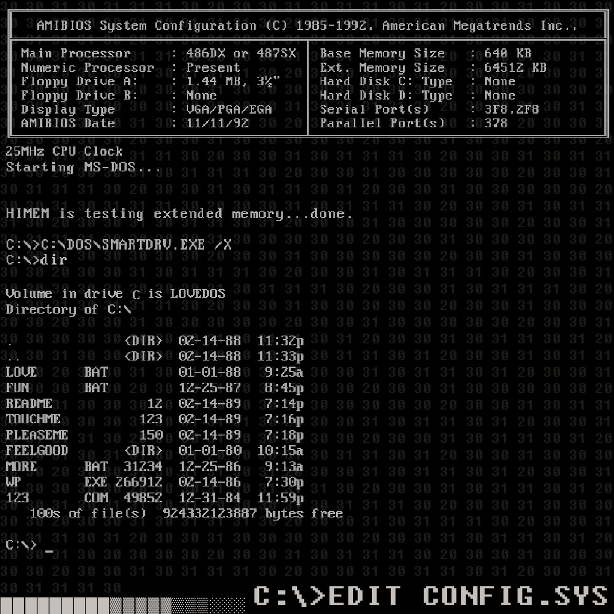 C:\>edit config. Sys | master boot record.