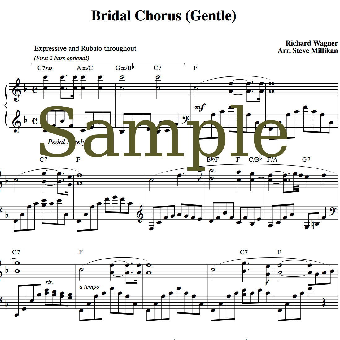 Wedding Processional Songs.Bridal Chorus Gentle Piano Short Sheet Music With Trad Bridal