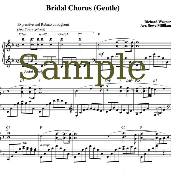 Bridal Chorus Sheet Music (Here Comes The Bride, Wedding March ...