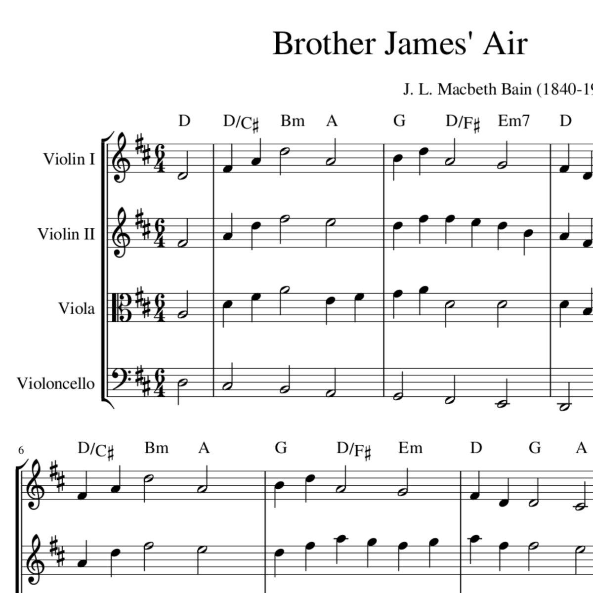 Brother James Air The Lord S My Shepherd Harmony Sheet Music String Quartet Trio Or Duo Celtic Hymns In Harmony