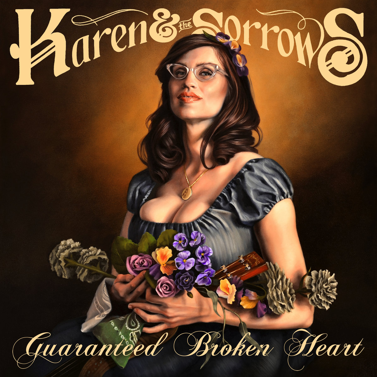Karen & The Sorrows - Guaranteed Broken Heart album cover painted by Amanda Kirkhuff