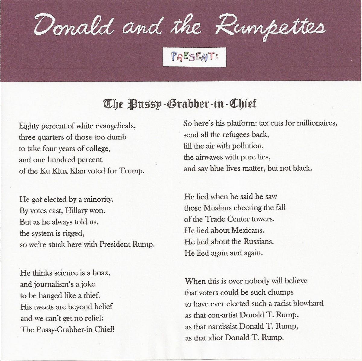 The Pussy-Grabber-in-Chief | Donald and the Rumpettes