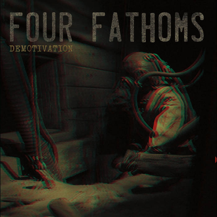The cover image of Demotivation by Four Fathoms. The album cover is a 3D image of a diver underwater in an old style diving suit.